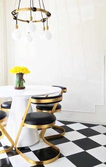 DIY Vinyl Kitchen Floor Tile Peel and Stick Retro Brady Tolbert Kitchen Vintage Dining Room After 1