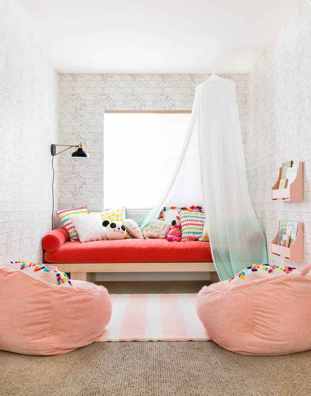 Daybed Construction Target Weekend Makeover Kids Playroom Pink Red Wallpaper Canopy 1