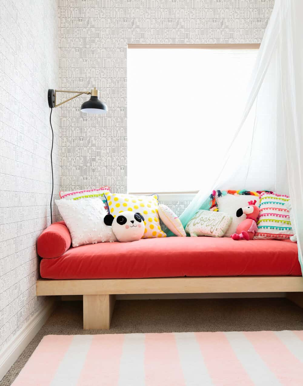 Daybed Construction Target Weekend Makeover Kids Playroom Pink Red Wallpaper Canopy 3