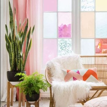 Gila DIY Window Film Happy Bright Pastel Emily Henderson Bamboo Seating Area 2
