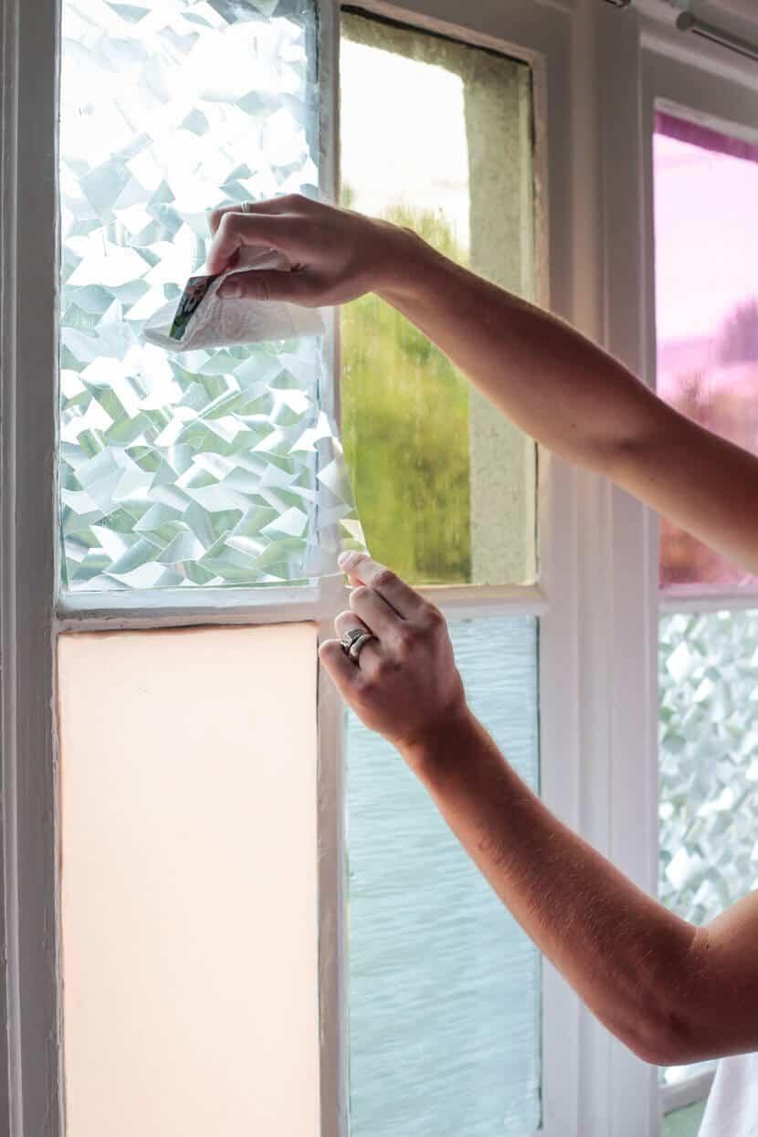 Gila DIY Window Film Happy Bright Pastel Emily Henderson Bamboo Seating Area Pressing