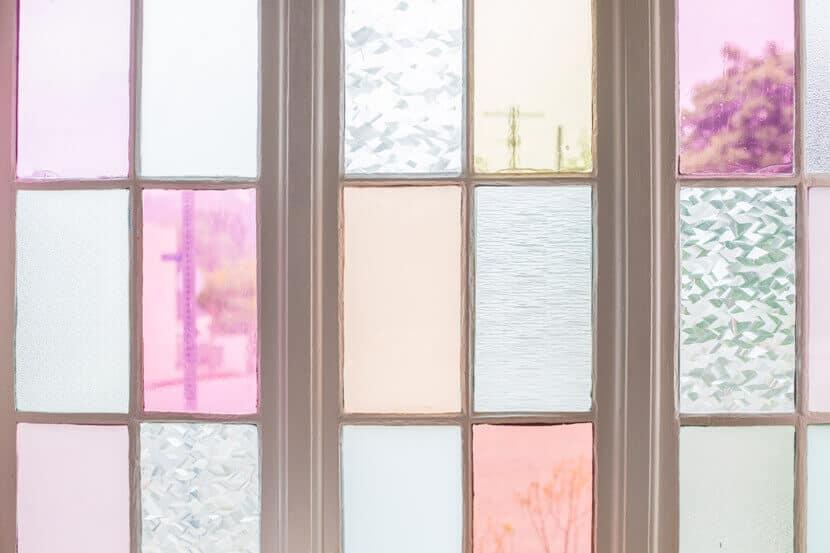 Gila DIY Window Film Happy Bright Pastel Emily Henderson Bamboo Seating Area Windows