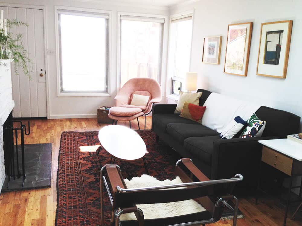 narrow living room hilary sontag living room redesign white and wood mid century