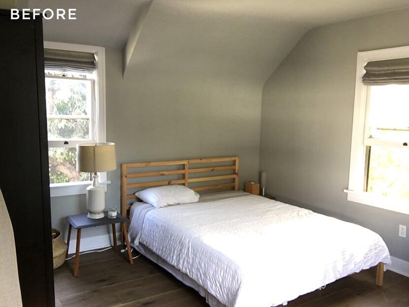 Scotts Bedroom Guest Bedroom Rattan Headboard Grey Masculine Leesa Before 1