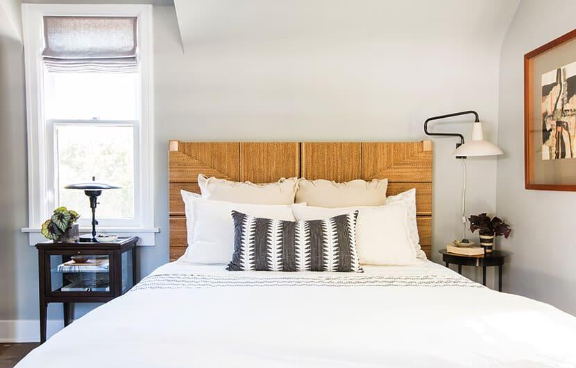 Scotts Bedroom Guest Bedroom Rattan Headboard Grey Masculine Leesa Rep 1