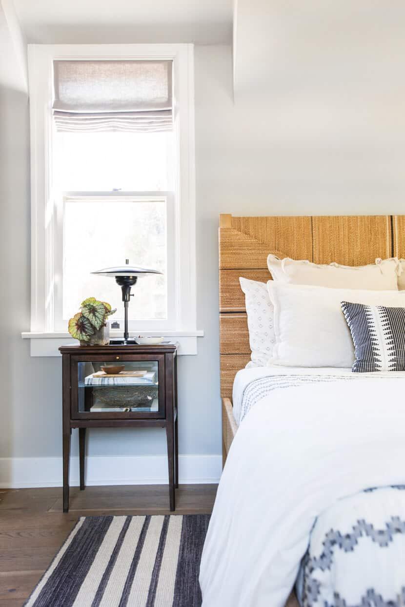 Scotts Bedroom Guest Bedroom Rattan Headboard Grey Masculine Leesa12