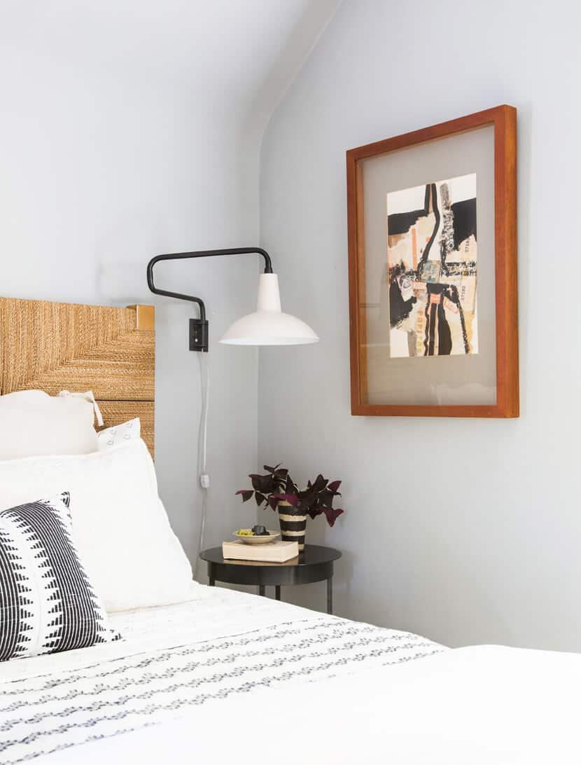 Scotts Bedroom Guest Bedroom Rattan Headboard Grey Masculine Leesa8