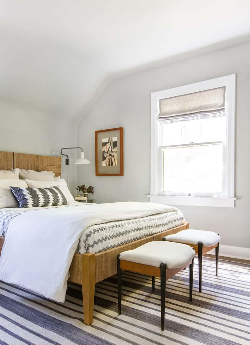 Scotts Bedroom Guest Bedroom Rattan Headboard Grey Masculine Leesa9