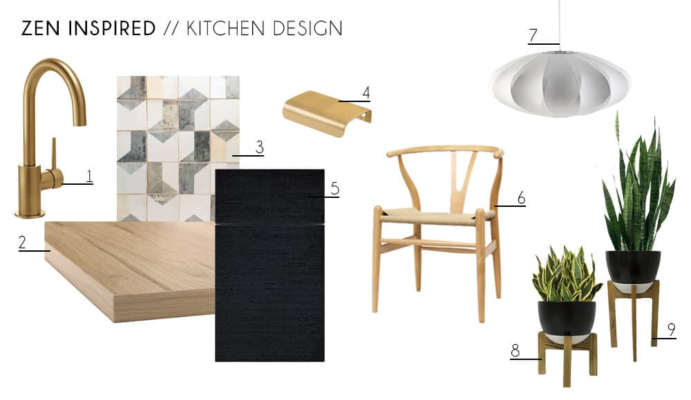 Zen Kitchen Accessories Furniture Minimal Wishbone Chair Indoor Plants Contemporary Modern Kitchen Design Moodboard