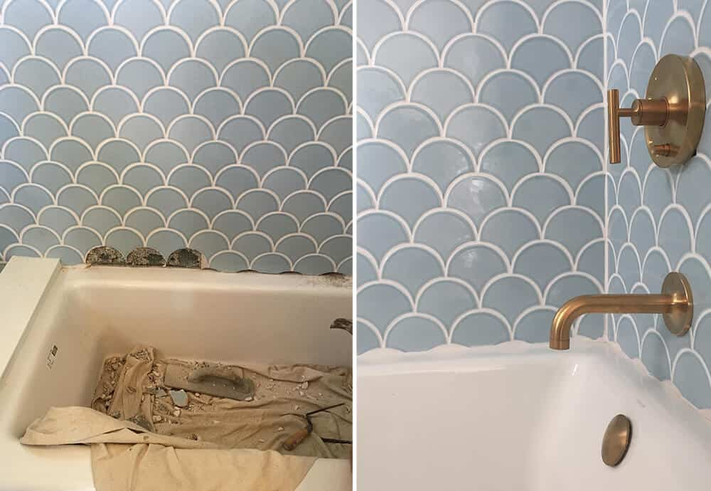 Before Photos Design Mistakes Who Pays For Them Emily Henderson Light Blue Scallop Tile Bathtub