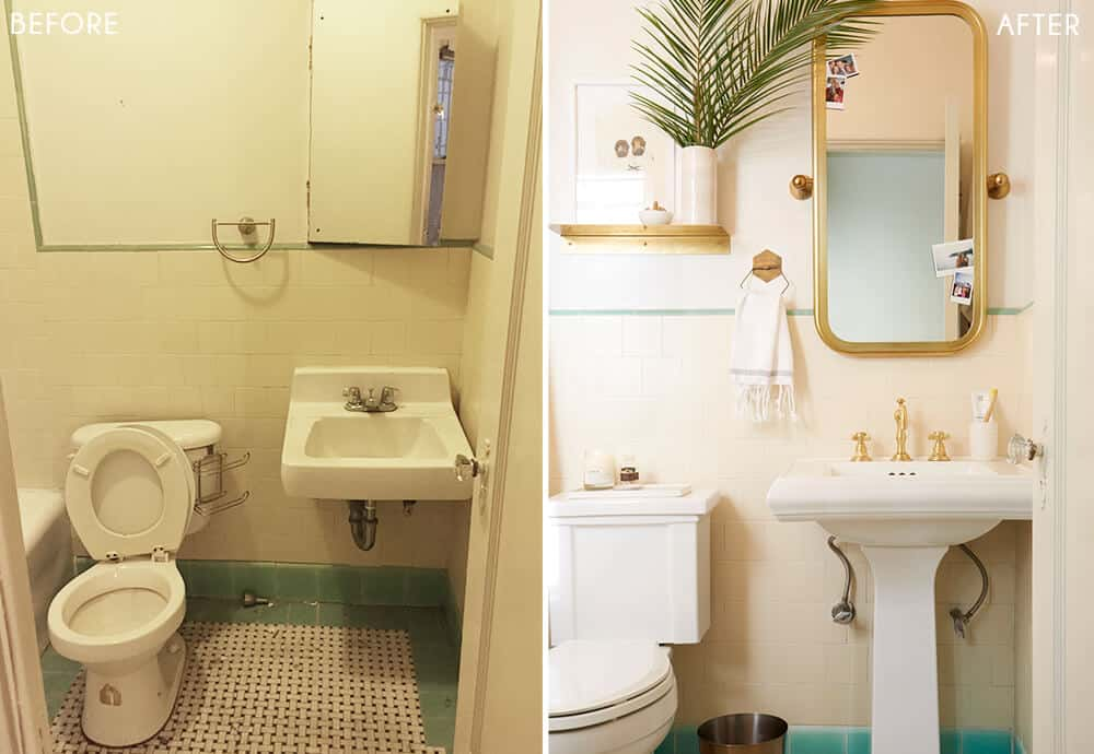 Brady's Bathroom Makeover Takeover White Turquiose Gold Tile Before and After 1