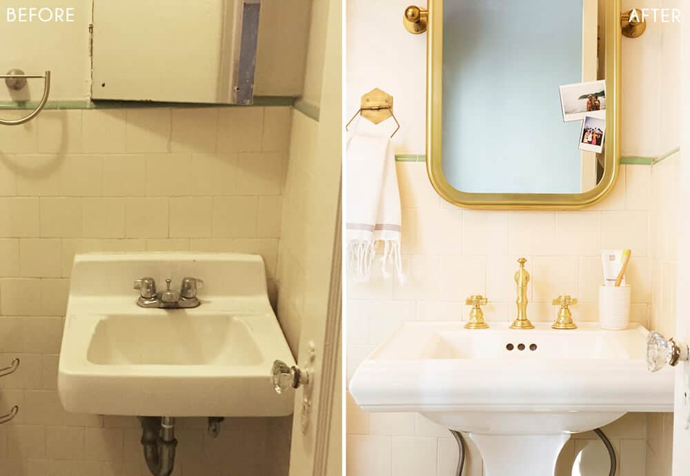 Brady's Bathroom Makeover Takeover White Turquiose Gold Tile Before and After 2