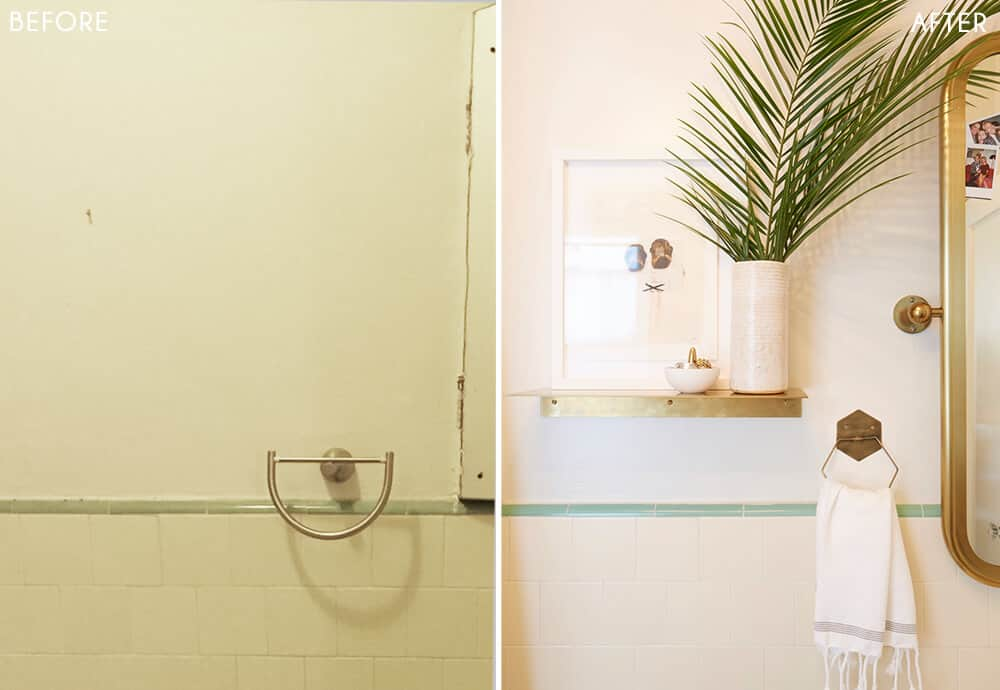 Brady's Bathroom Makeover Takeover White Turquiose Gold Tile Before and After 3