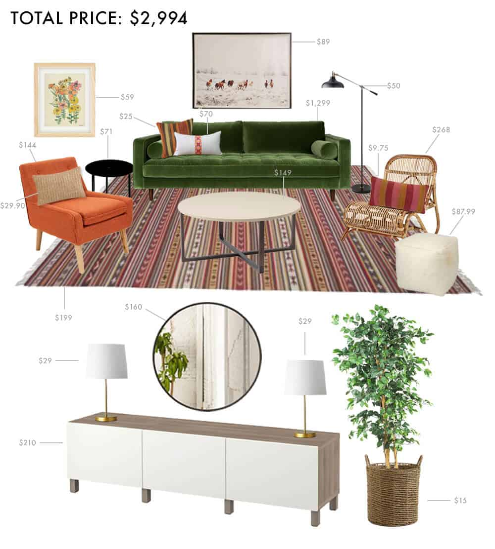Budget Living Room Boho Anthropologie Hippie Casual Emily Henderson Moodbaord Roundup 1