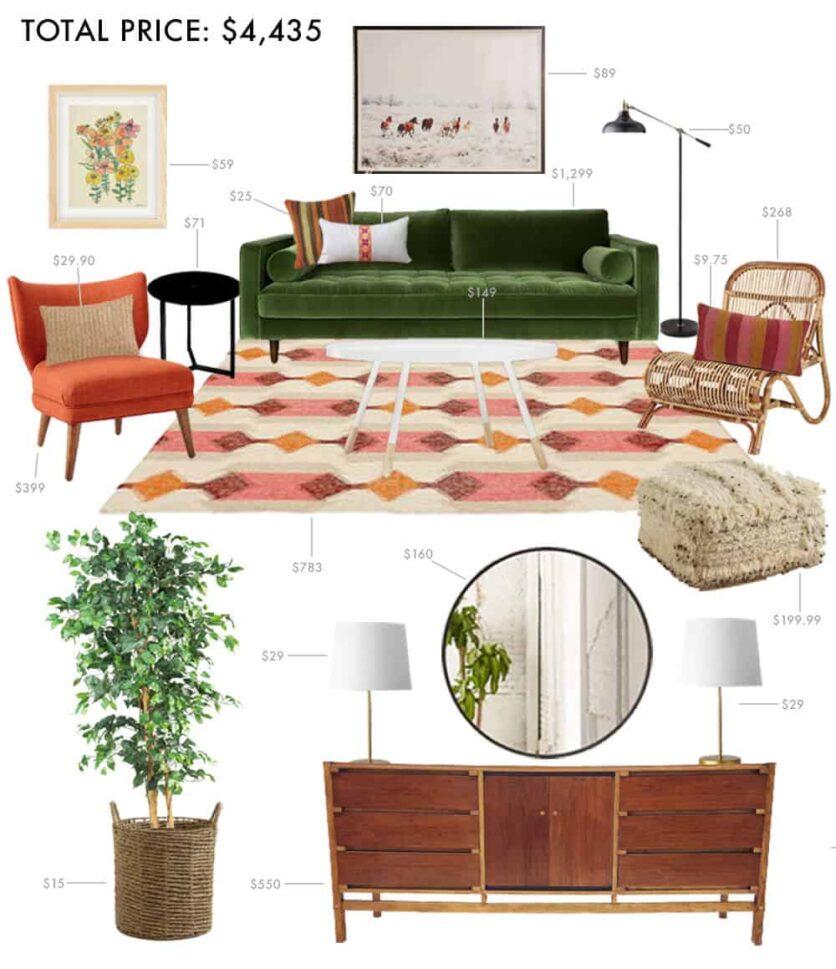 Budget Living Room Boho Anthropologie Hippie Casual Emily Henderson Moodbaord Roundup 2