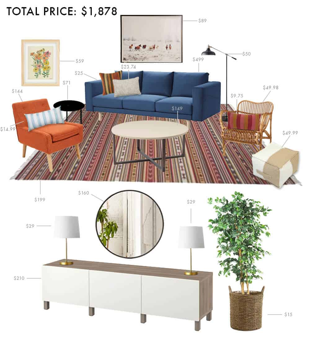 Budget Living Room Boho Anthropologie Hippie Casual Emily Henderson Moodboard Roundup 3