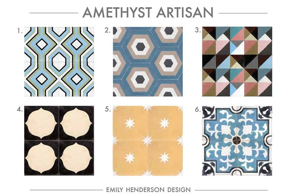 Cement Tile RoundUp Amethyst Artisan Patterned Tiles Emily Henderson
