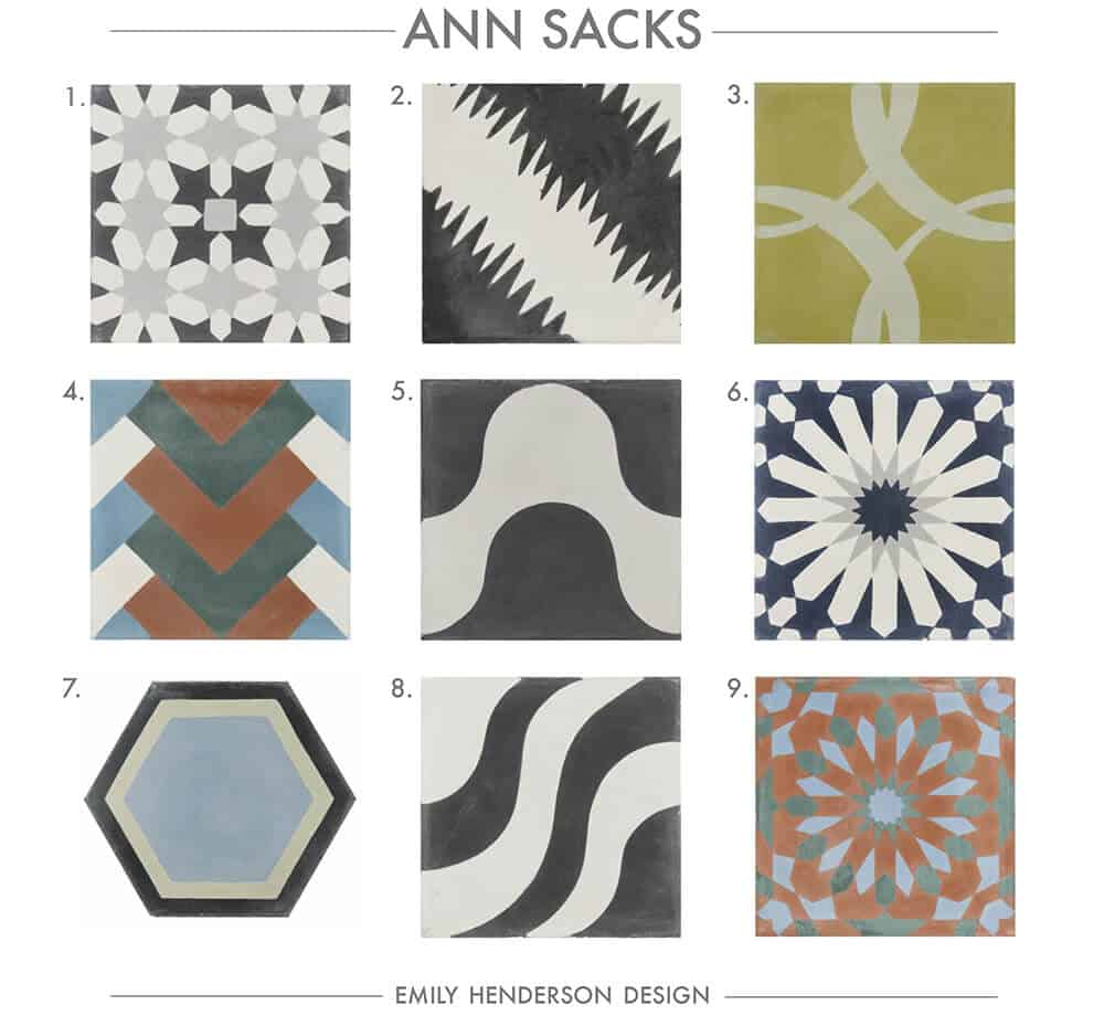 Cement Tile RoundUp Ann Sacks Patterned Tiles Emily Henderson