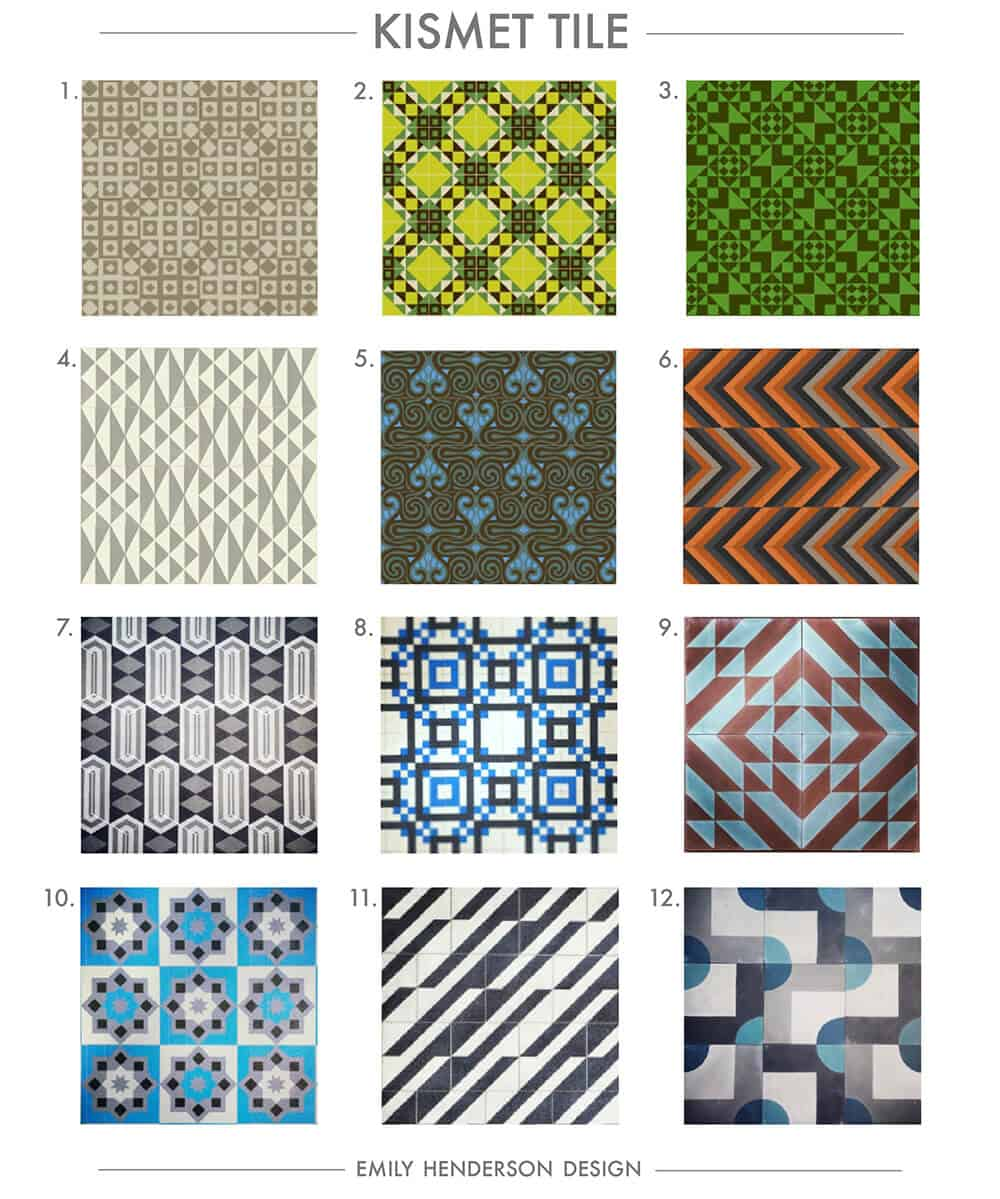 Cement Tile RoundUp Kismet Tiles Patterned Tiles Emily Henderson