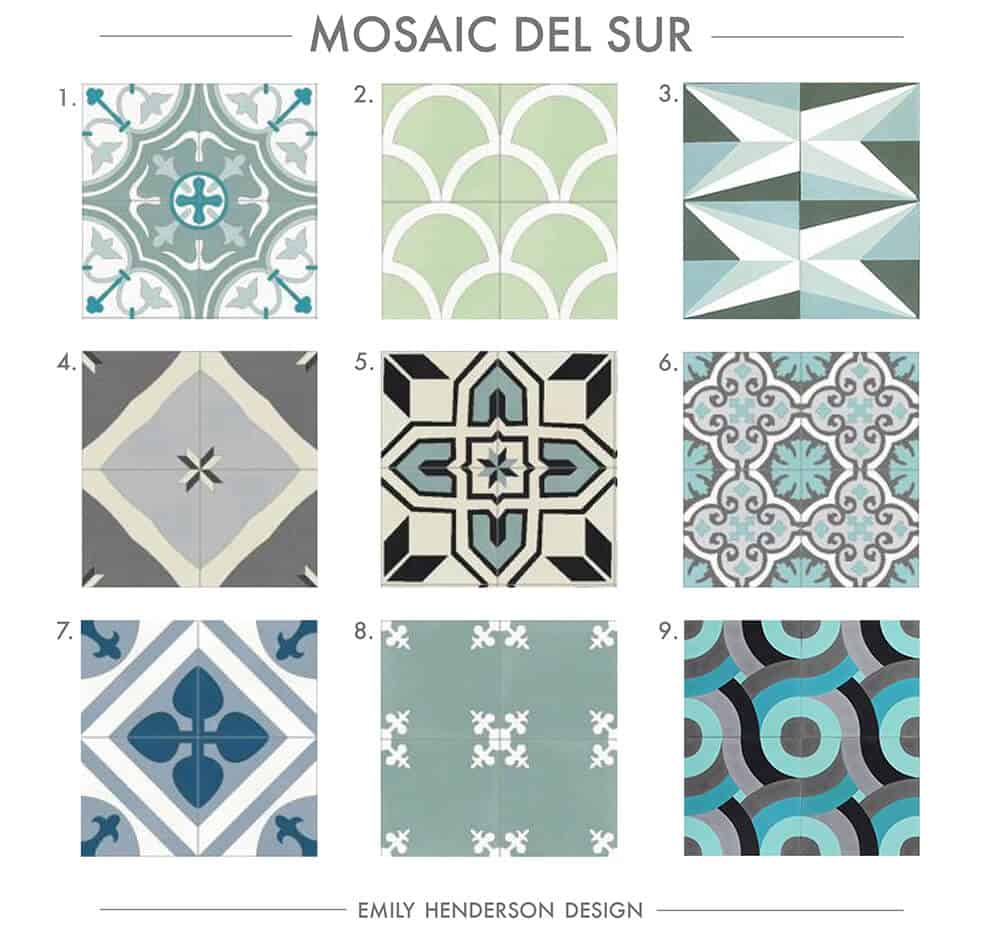Cement Tile RoundUp Mosaic Del Sur Patterned Tiles Emily Henderson
