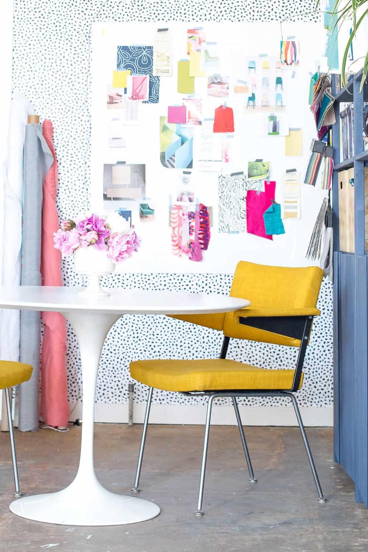 Emily Henderson Devine Color Tempaper Temporary Wallpaper Studio Makeover Blue white and black Organization 2