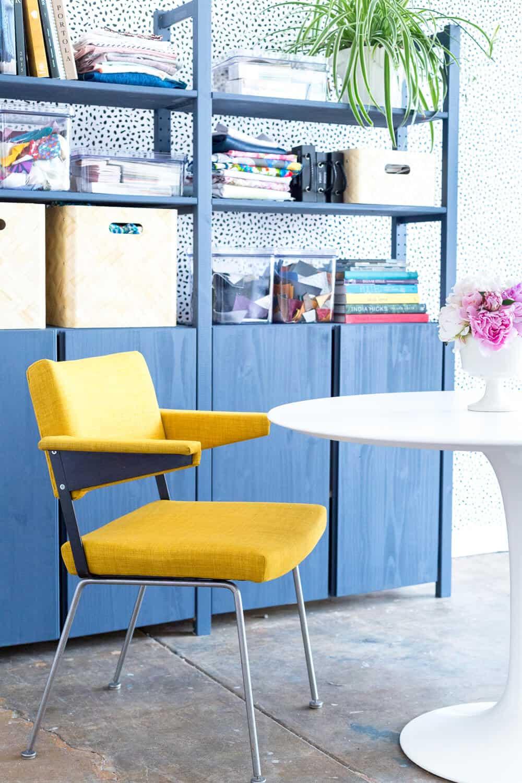 Emily Henderson Devine Color Tempaper Temporary Wallpaper Studio Makeover Blue white and black Organization-21