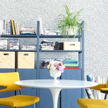 Emily Henderson Devine Color Tempaper Temporary Wallpaper Studio Makeover Blue white and black Organization-4