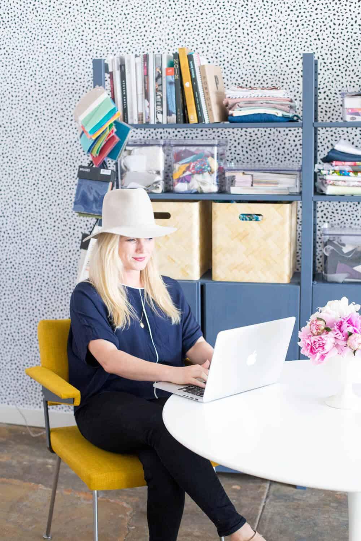 Emily Henderson Devine Color Tempaper Temporary Wallpaper Studio Makeover Blue white and black Organization 6