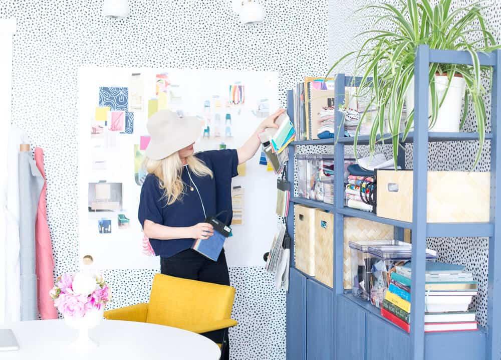 Emily Henderson Devine Color Tempaper Temporary Wallpaper Studio Makeover Blue white and black Organization 7
