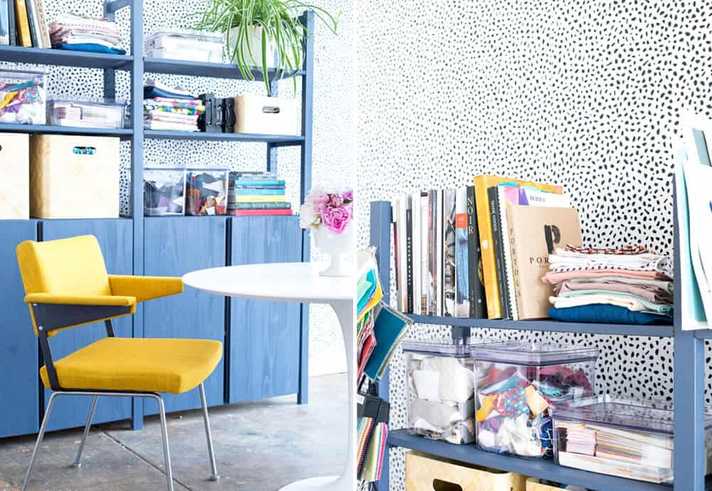 Emily Henderson Devine Color Tempaper Temporary Wallpaper Studio Makeover Blue white and black Organization 8 copy