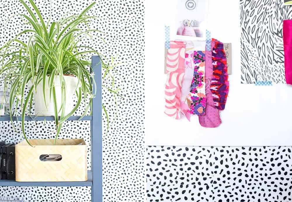 Emily Henderson Devine Color Tempaper Temporary Wallpaper Studio Makeover Blue white and black Organization 9