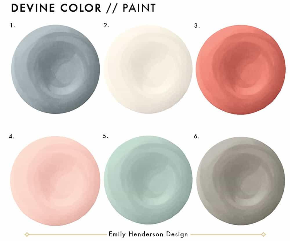 Emily Henderson Devine Color Tempaper Temporary Wallpaper Studio Makeover Blue white and black Organization Paint Color Roundup