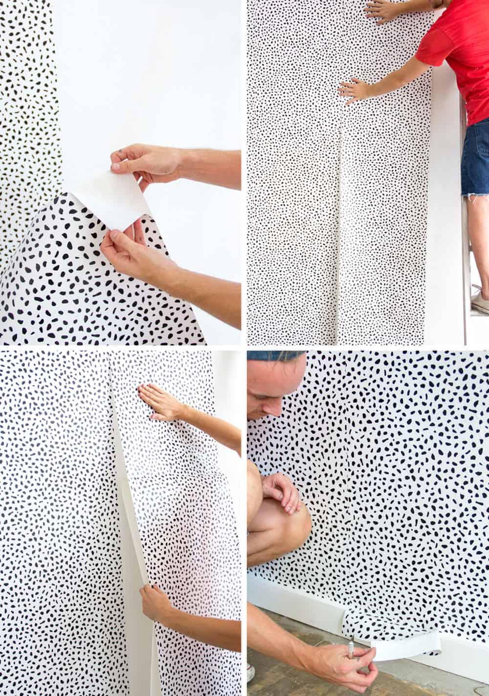 Emily Henderson Devine Color Tempaper Temporary Wallpaper Studio Makeover Blue white and black Organization Process 10 copy