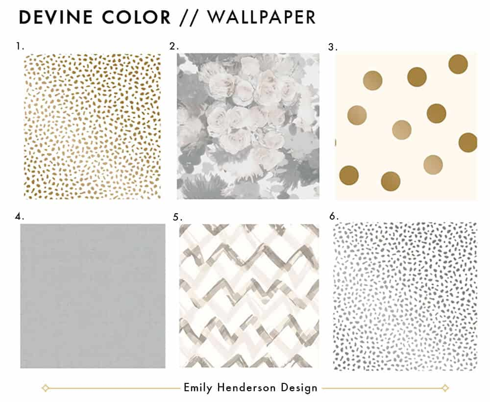 Emily Henderson Devine Color Tempaper Temporary Wallpaper Studio Makeover Blue white and black Organization Wallpaper Roundup