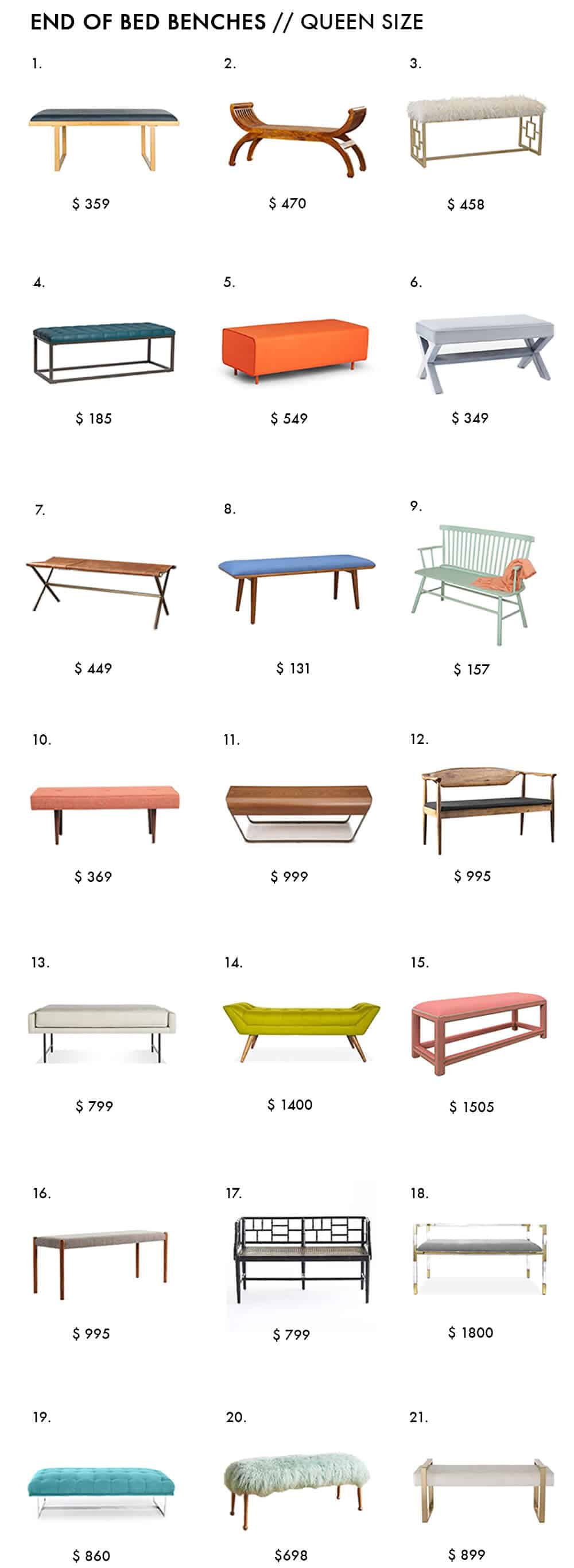 End of Bed Bench Roundup Emily Henderson Bedroom Design Queen Size