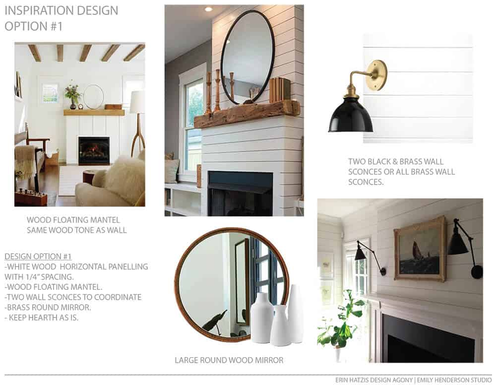 Erin Hatzis Design Agony Emily Henderson White Wood Paneling Floating Mantle Inspiration Option 1