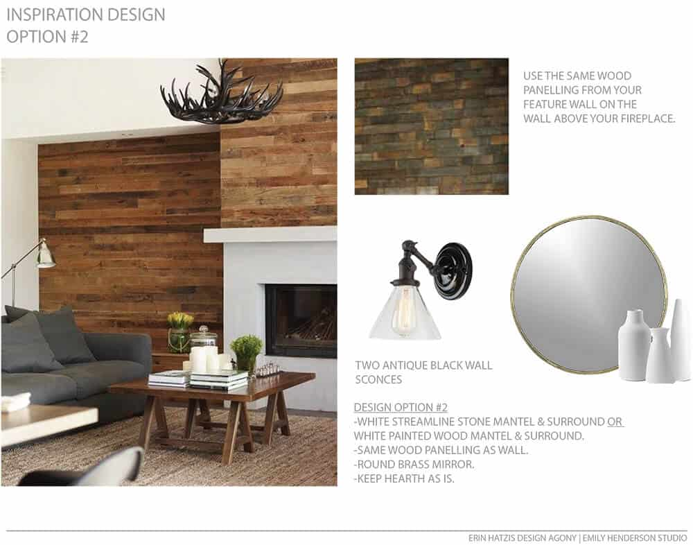 Erin Hatzis Design Agony Emily Henderson White Wood Paneling Floating Mantle Inspiration Option 2