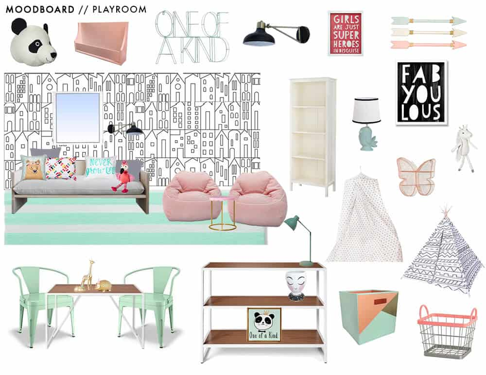 Pillowfort Playroom Moodboard Pink Mint Green Kids