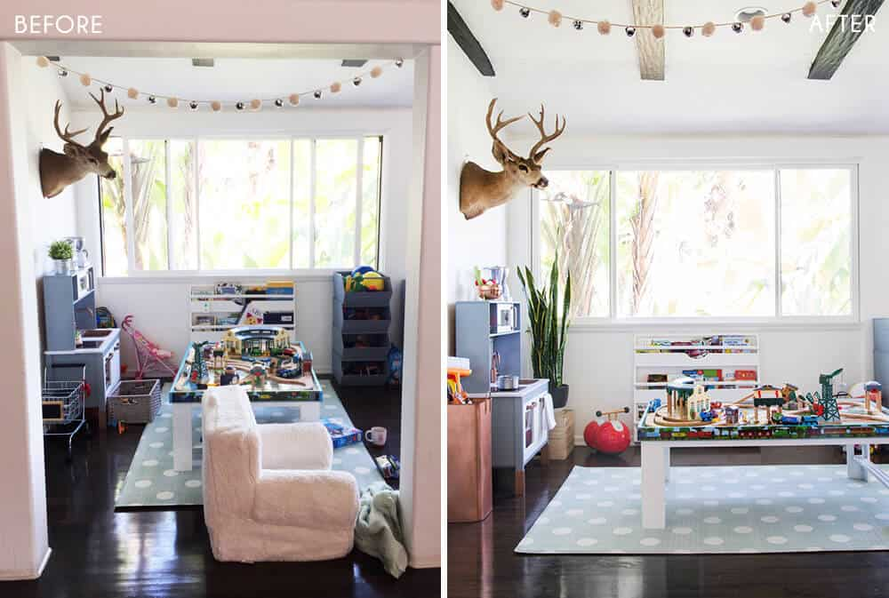Suzannes Child Playroom Makeover Emily Henderson Styling Before and After 1
