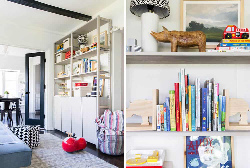 Suzannes Child Playroom Makeover Emily Henderson Styling Kids Shelf Organization After 2