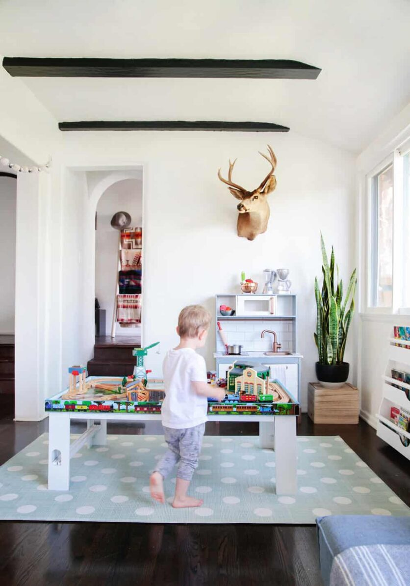 Suzanne's Sophisticated Childrens Playroom Makeover Neutral Kids Blue Grey Emily Henderson-035