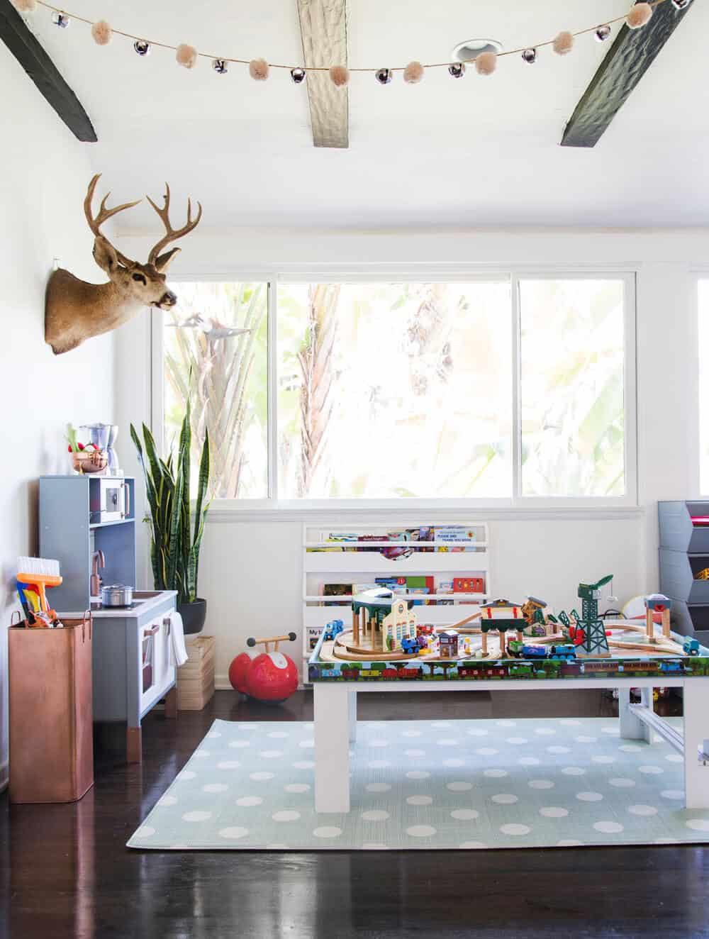 Suzanne's Sophisticated Childrens Playroom Makeover Neutral Kids Blue Grey Emily Henderson-067