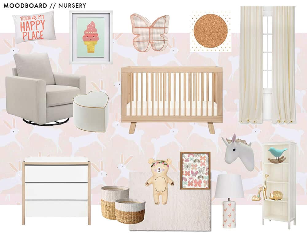 Target Pillowfort Nursery Baby Girl Pink and white Emily Henderson Moodboard