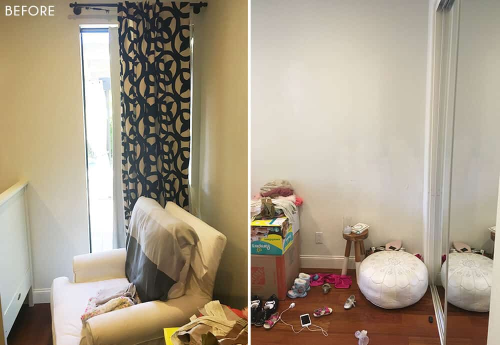 Target Pillowfort Nursery Makeover Baby Girl Pink and White Emily Henderson Before Photo 1