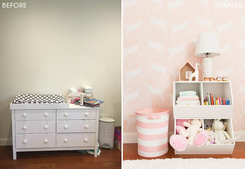 Target Pillowfort Nursery Makeover Baby Girl Pink and White Emily Henderson Before and After 1