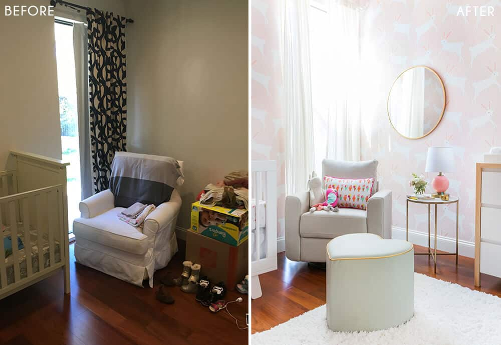 Target Pillowfort Nursery Makeover Baby Girl Pink and White Emily Henderson Before and After 3