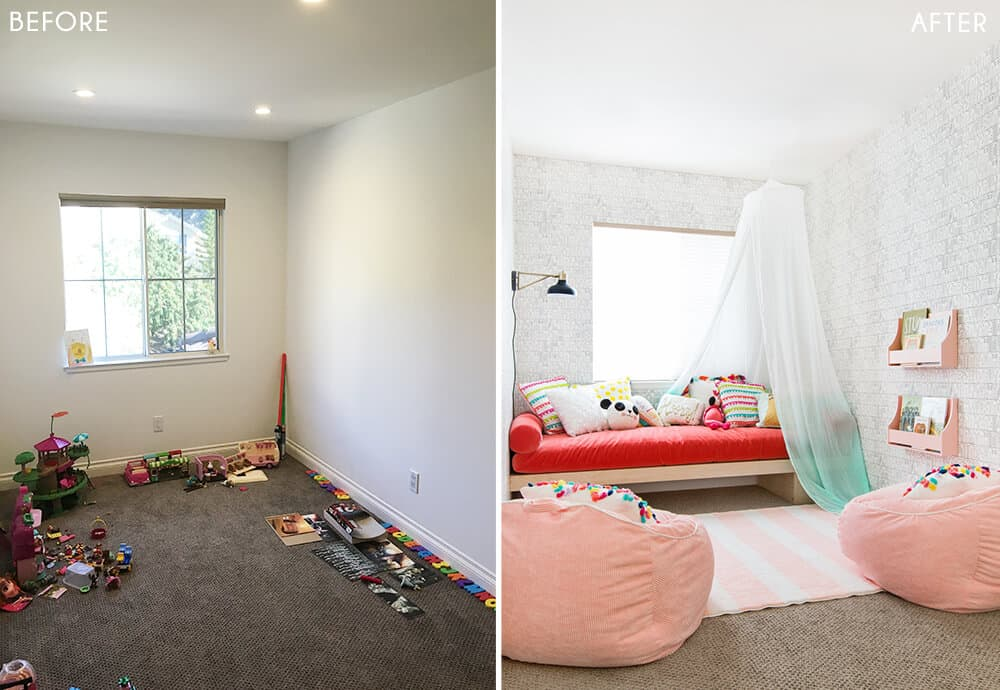Target Pillowfort Playroom Makeover Kids Childrens Mint Green and Pink Activity Room Emily Henderson Before and After 1
