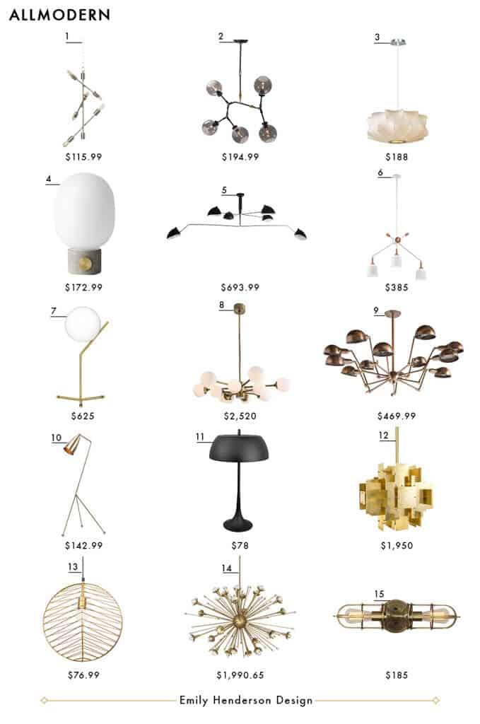 all modern emily henderson design lighting roundup copy all modern lighting