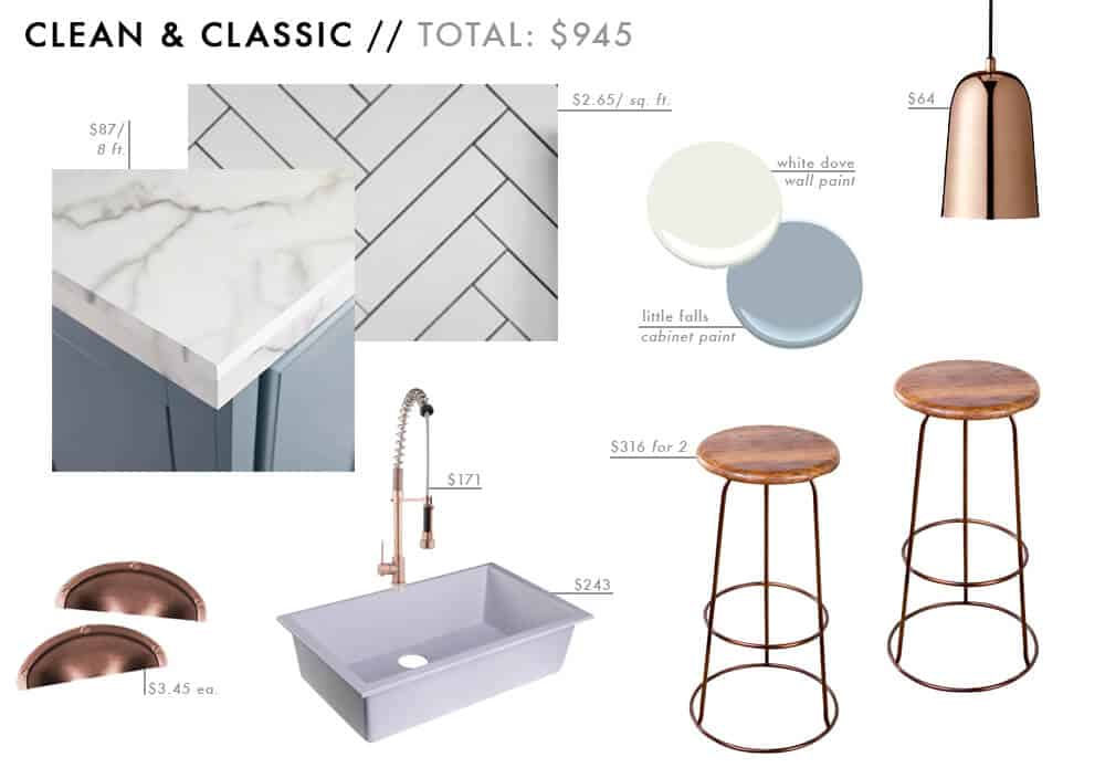 Clean and Classic Moodboard Affordable Kitchen Roundup marble brass blue white Budget Friendly Emily Henderson Design
