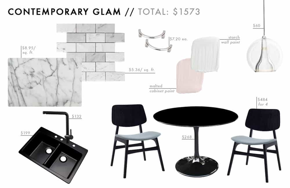 Contemporary Glam Moodboard Affordable Kitchen Roundup pink black mable chrome Budget Friendly Emily Henderson Design